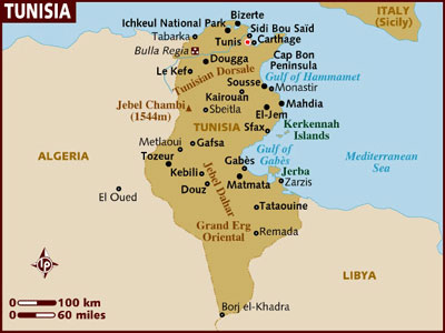 Mapa de Tunez