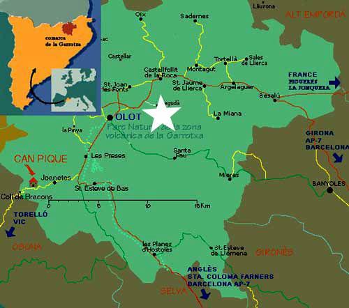 Mapa de La Garrotxa