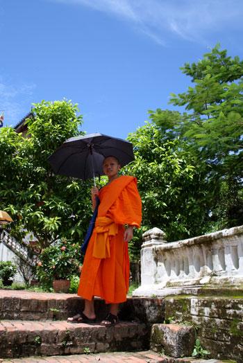 Monje bajo un paraguas para sofocar la calor