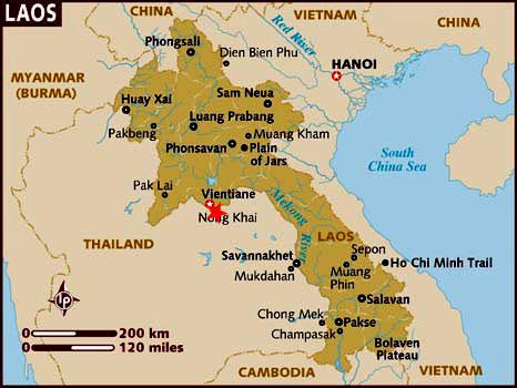 Ubicción Frontera Tailandia Laos