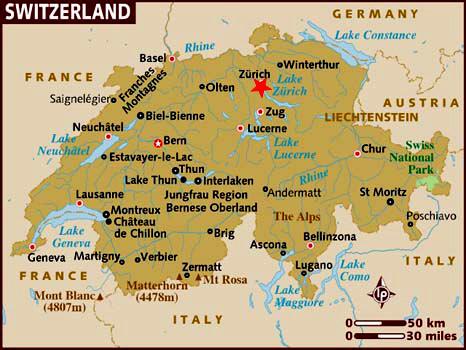 Localización de Zurich en el mapa de Suiza