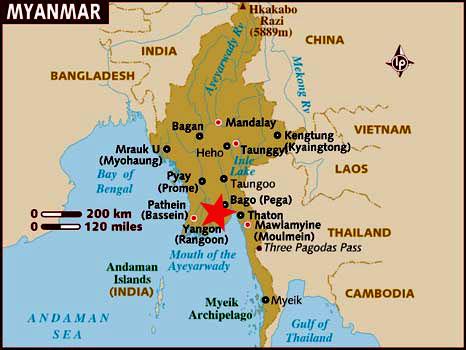 Ubicación Yangon