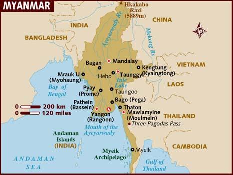 Ubicación Myanmar en Sudeste Asiático