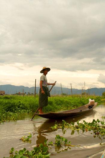 Agricultores flotantes del Lago Inle