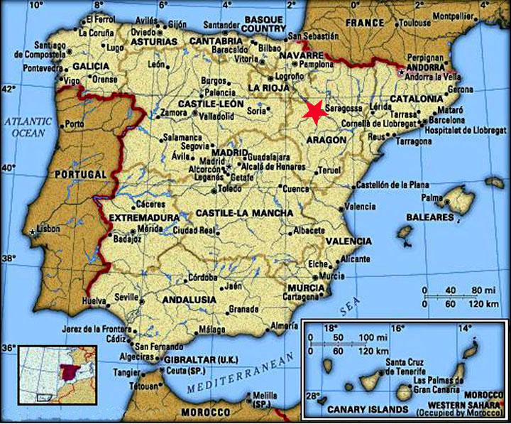 Ubicación Zaragoza en España