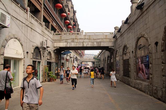 Zona comercial de Xi'an cerca de la Torre del Tambor