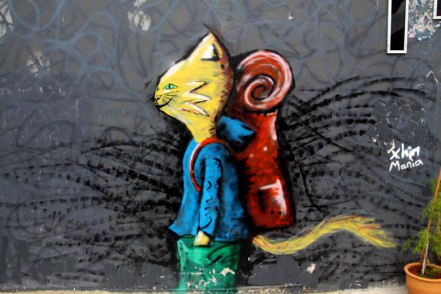 Arte callejero en la ciudad de Kuching (Gato)