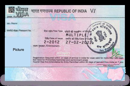 Visado para la India sin foto