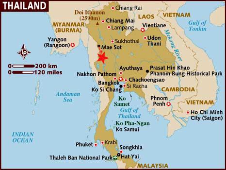 Mapa para saber como ir de Mae Sot a Umphang