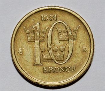 Moneda y cambio de Suecia (moneda de 10 Kr)