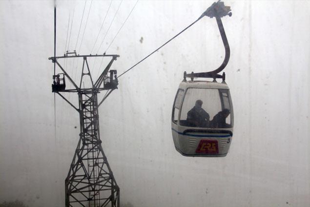 A bordo del teleférico de Darjeeling