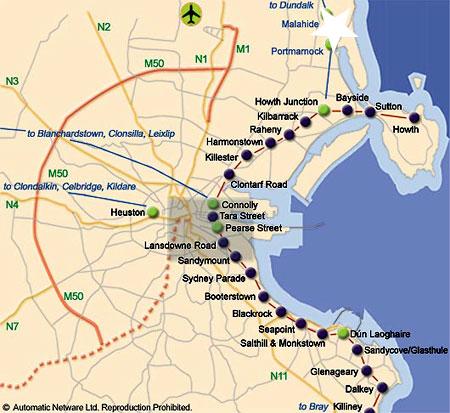 Mapa de Como ir de Dublin a Malahide