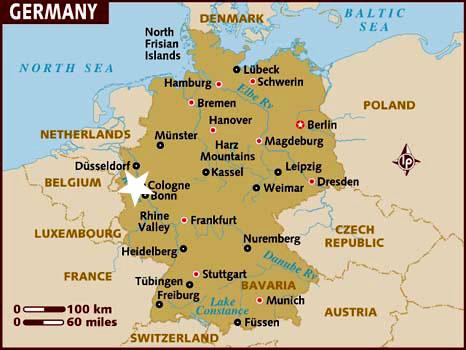 Ubicación Colonia en Alemania