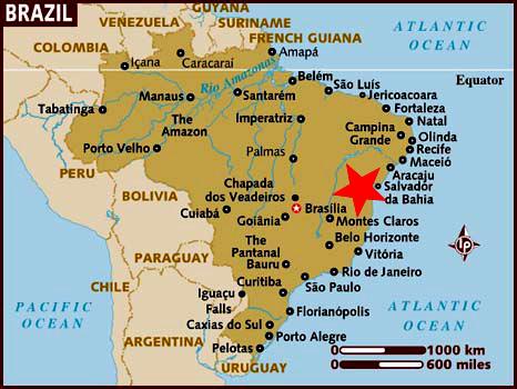 Ubicación de Bahía en el mapa de Brasil