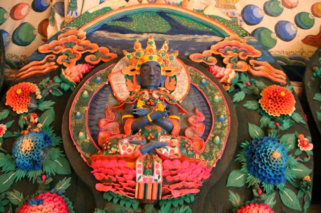 Figuras budistas hechas con mantequilla de Yak