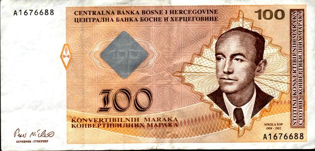 Bosnia moneda y cambio (100 Marcos)