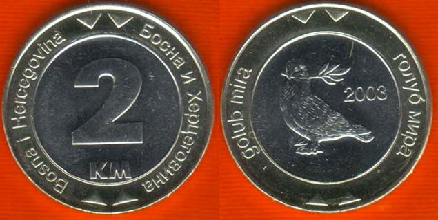 Bosnia moneda y cambio (2 Marcos bosnios)