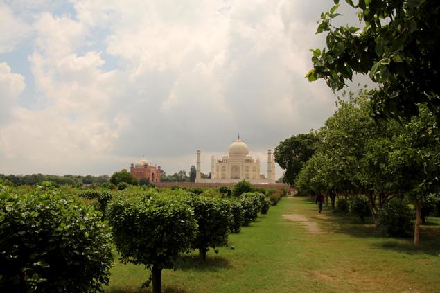 Mehtab Bagh , vistas del Taj Mahal