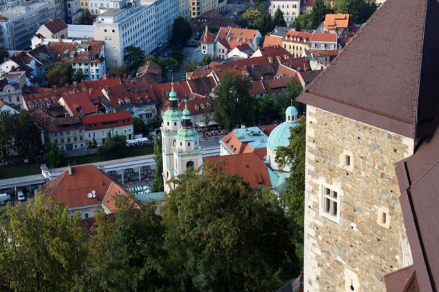 Catedral de Ljubljana desde el Castillo