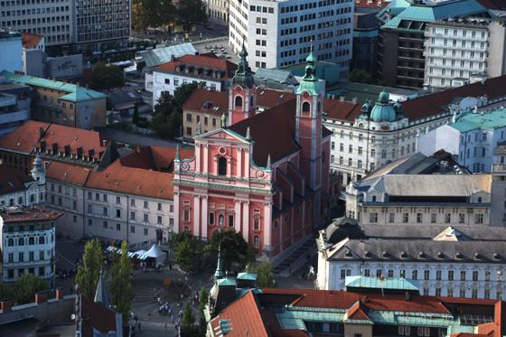 Vistas de la Iglesia de la Anunciación desde el castillo de Ljubljana