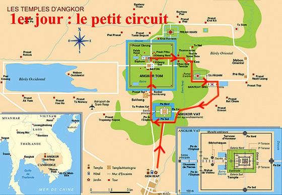 Mapa del circuito corto que ver en los templos de Angkor