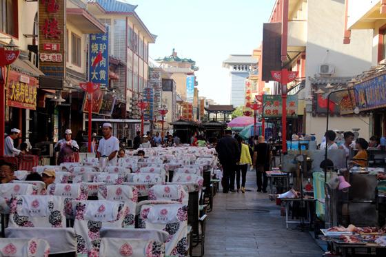 que ver y hacer en Dunhuang , zona del mercado nocturno