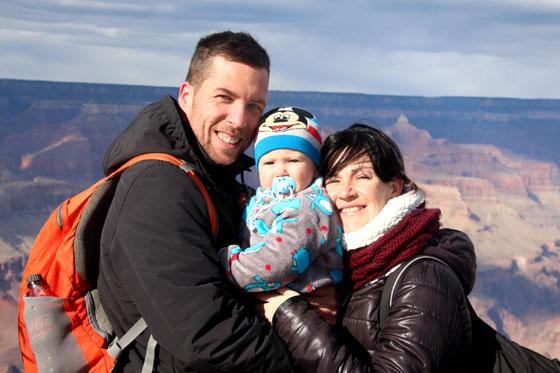 Viajar con un bebé por Estados Unidos (Los tres juntos en el Gran Cañón del Colorado)