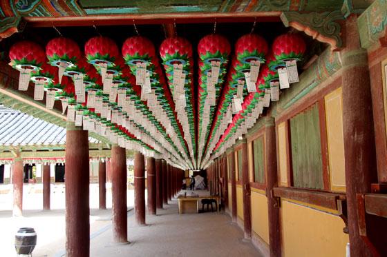 Ornamentación de las pasarelas del templo Bulguksa