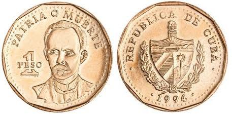 Moneda y cambio Cuba , moneda de 1 peso