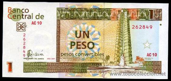 Moneda y cambio Cuba , billete de 1 peso convertible