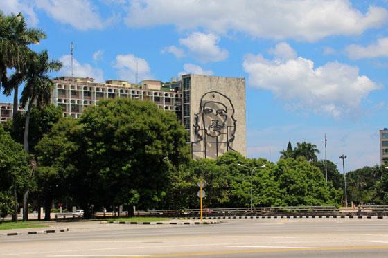 Imagen del Che en la Plaza de la Revolución