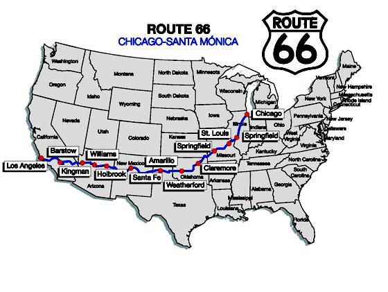 Mapa del recorrido de la Ruta 66 de Chicago a Santa Mónica
