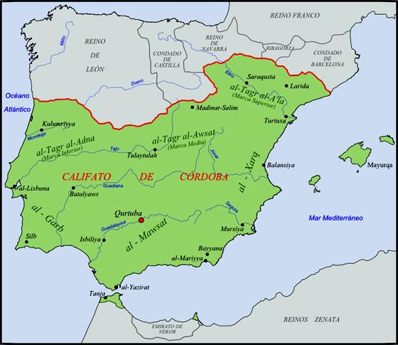 Mapa del Califato de Córdoba alrededor del año 1000. Autor: Té y Kriptonita