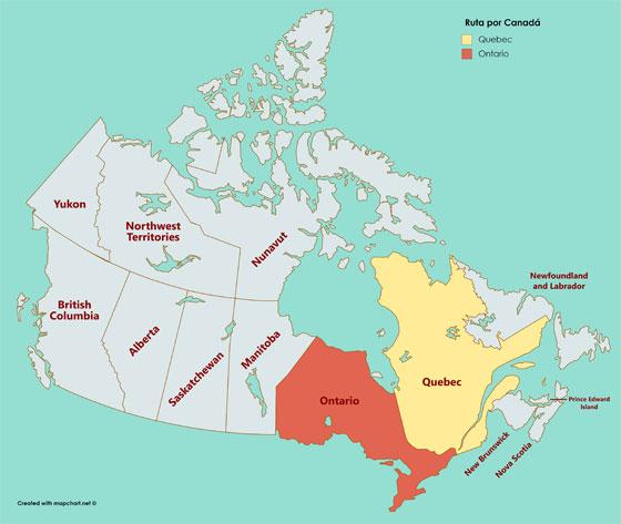 Mapa de los estados que recorrimos en nuestra Ruta por Canadá
