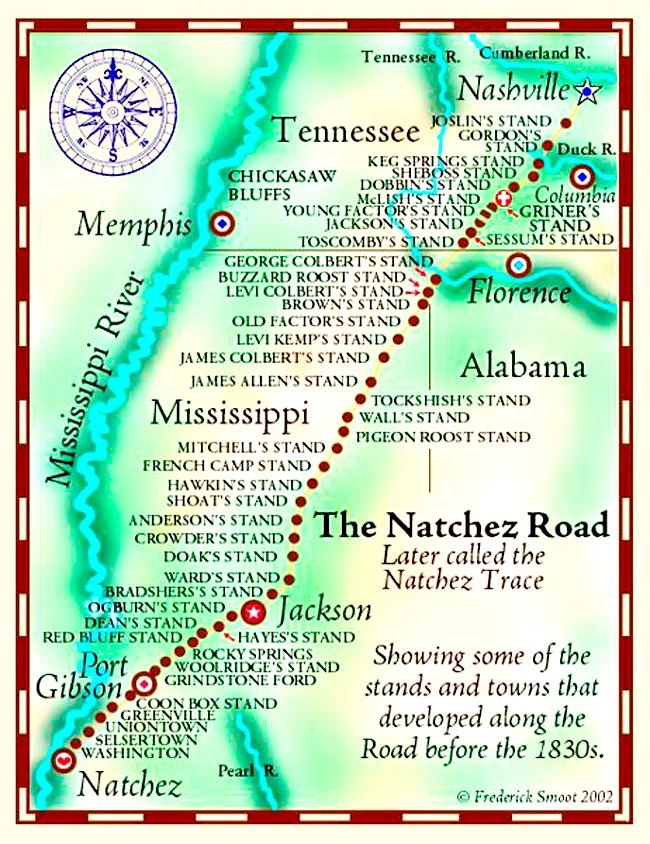 Mapa de la Natchez Trace Parkway